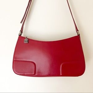 Etienne Aigner Red Baguette Leather Hand Bag